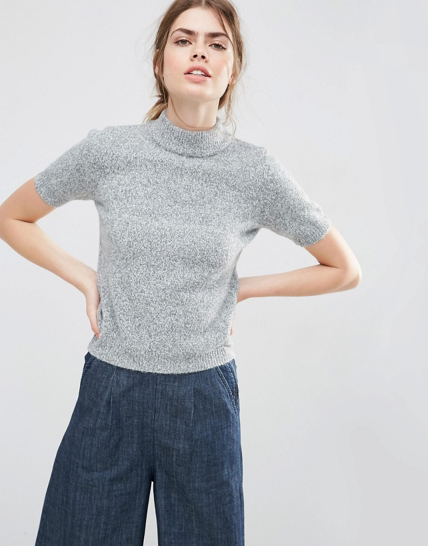 Knitted Tee With High Neck Grey - pattern: plain; neckline: high neck; predominant colour: mid grey; occasions: casual, creative work; length: standard; style: top; fibres: acrylic - mix; fit: body skimming; sleeve length: short sleeve; sleeve style: standard; texture group: knits/crochet; pattern type: knitted - other; season: s/s 2016; wardrobe: basic