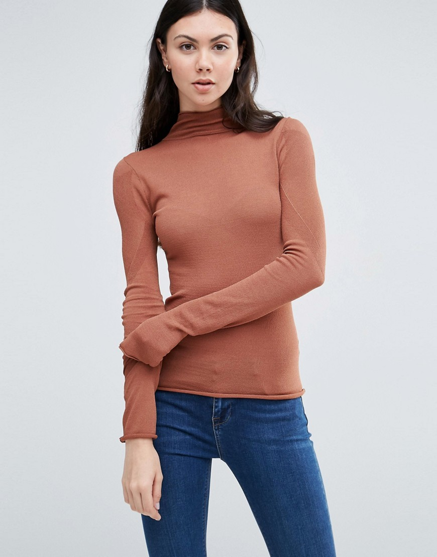 Sheer High Neck Jumper Brown - pattern: plain; neckline: roll neck; style: standard; predominant colour: camel; occasions: casual, work, creative work; length: standard; fit: slim fit; sleeve length: long sleeve; sleeve style: standard; texture group: knits/crochet; pattern type: knitted - fine stitch; fibres: viscose/rayon - mix; season: s/s 2016; wardrobe: basic