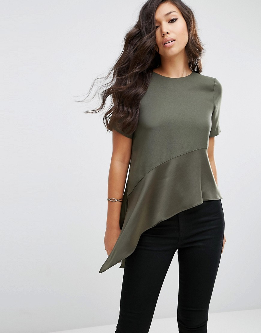 Asymmmetric Matt & Shine Tee Khaki - pattern: plain; length: below the bottom; predominant colour: khaki; occasions: casual, creative work; style: top; fibres: polyester/polyamide - 100%; fit: body skimming; neckline: crew; sleeve length: short sleeve; sleeve style: standard; pattern type: fabric; texture group: other - light to midweight; season: s/s 2016; wardrobe: basic