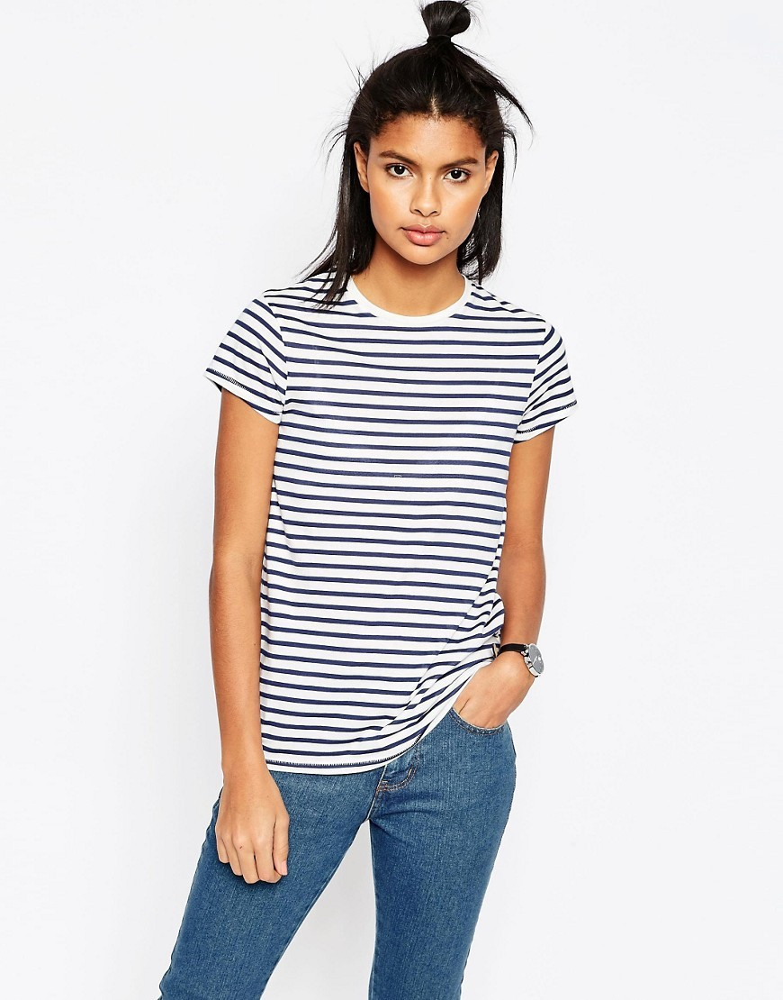 T Shirt With Crew Neck In Stripe Stripe - neckline: round neck; sleeve style: capped; pattern: horizontal stripes; style: t-shirt; predominant colour: navy; occasions: casual; length: standard; fibres: cotton - mix; fit: body skimming; sleeve length: short sleeve; pattern type: fabric; texture group: jersey - stretchy/drapey; pattern size: big & busy (top); season: s/s 2016; wardrobe: basic
