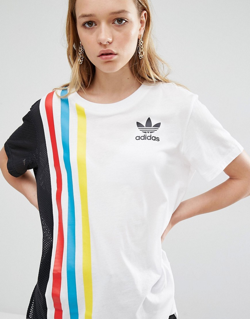 Originals Primary Three Stripe Oversized T Shirt With Mesh Insert White - neckline: round neck; pattern: striped; length: below the bottom; style: t-shirt; predominant colour: white; secondary colour: black; occasions: casual; fibres: cotton - mix; fit: loose; sleeve length: short sleeve; sleeve style: standard; pattern type: fabric; texture group: jersey - stretchy/drapey; multicoloured: multicoloured; season: s/s 2016