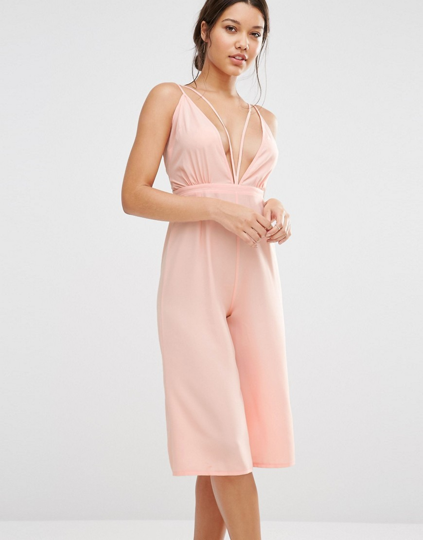 Strappy Culotte Jumpsuit Blush - neckline: plunge; sleeve style: spaghetti straps; pattern: plain; length: below the knee; predominant colour: blush; occasions: evening; fit: body skimming; fibres: polyester/polyamide - 100%; sleeve length: sleeveless; style: jumpsuit; pattern type: fabric; texture group: other - light to midweight; season: s/s 2016; wardrobe: event
