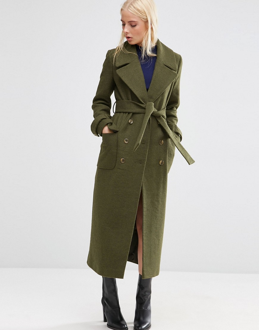 Wool Blend Midi Coat With Tie Belt Khaki - pattern: plain; style: single breasted; collar: standard lapel/rever collar; length: calf length; predominant colour: khaki; occasions: casual, creative work; fit: tailored/fitted; fibres: wool - mix; sleeve length: long sleeve; sleeve style: standard; collar break: medium; pattern type: fabric; texture group: woven bulky/heavy; season: s/s 2016; wardrobe: basic