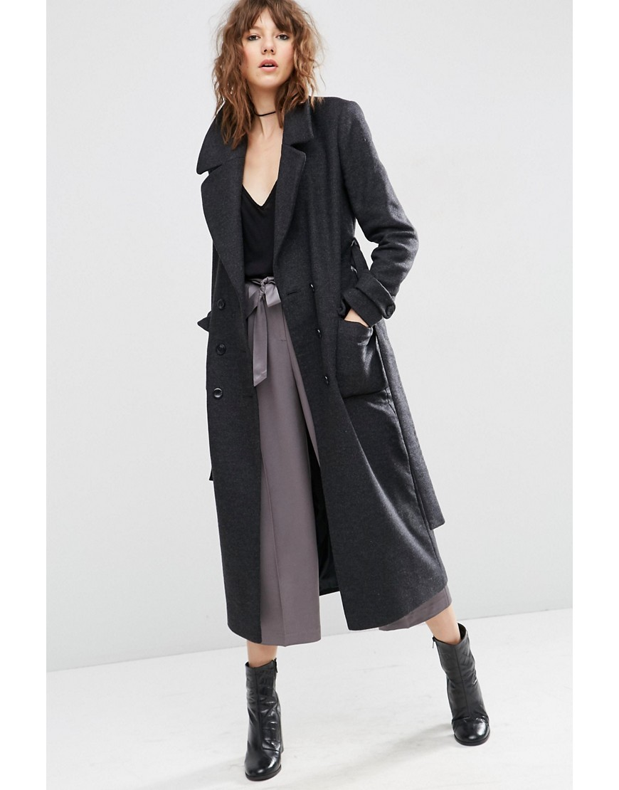 Wool Blend Midi Coat With Tie Belt Grey - pattern: plain; style: parka; collar: standard lapel/rever collar; length: calf length; predominant colour: charcoal; occasions: casual, creative work; fit: straight cut (boxy); fibres: wool - mix; sleeve length: long sleeve; sleeve style: standard; collar break: medium; pattern type: fabric; texture group: woven bulky/heavy; season: s/s 2016; wardrobe: basic