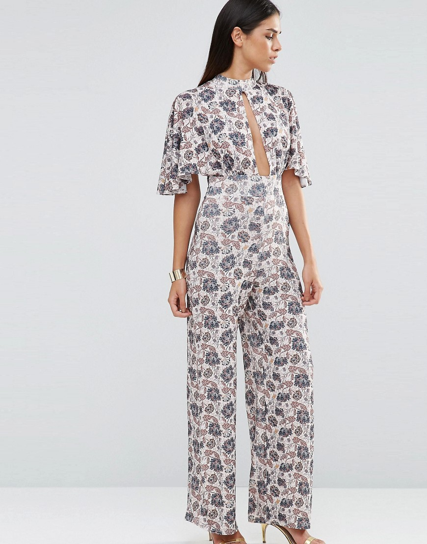 Choker Neck Printed Jumpsuit With Kimono Sleeve Wallpaper Floral - length: standard; sleeve style: angel/waterfall; fit: fitted at waist; predominant colour: ivory/cream; secondary colour: navy; occasions: evening, occasion; neckline: peep hole neckline; fibres: polyester/polyamide - 100%; sleeve length: half sleeve; style: jumpsuit; pattern type: fabric; pattern size: big & busy; pattern: florals; texture group: woven light midweight; multicoloured: multicoloured; season: s/s 2016; wardrobe: event