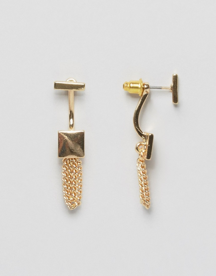 Square Chain Swing Earrings Gold - predominant colour: gold; occasions: evening, occasion; style: drop; length: mid; size: standard; material: chain/metal; fastening: pierced; finish: metallic; embellishment: chain/metal; season: s/s 2016; wardrobe: event