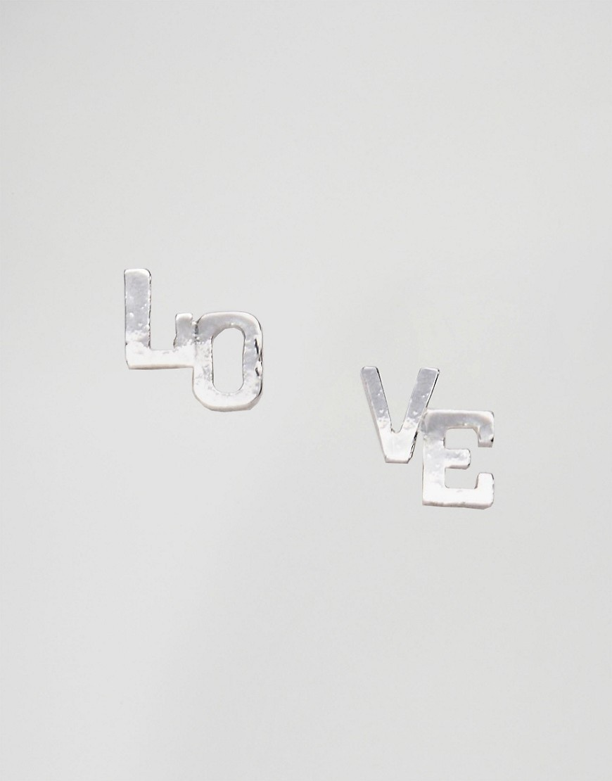 Love Stud Earrings Rhodium - predominant colour: silver; occasions: casual, creative work; style: stud; length: short; size: standard; material: chain/metal; fastening: pierced; finish: metallic; embellishment: chain/metal; season: s/s 2016