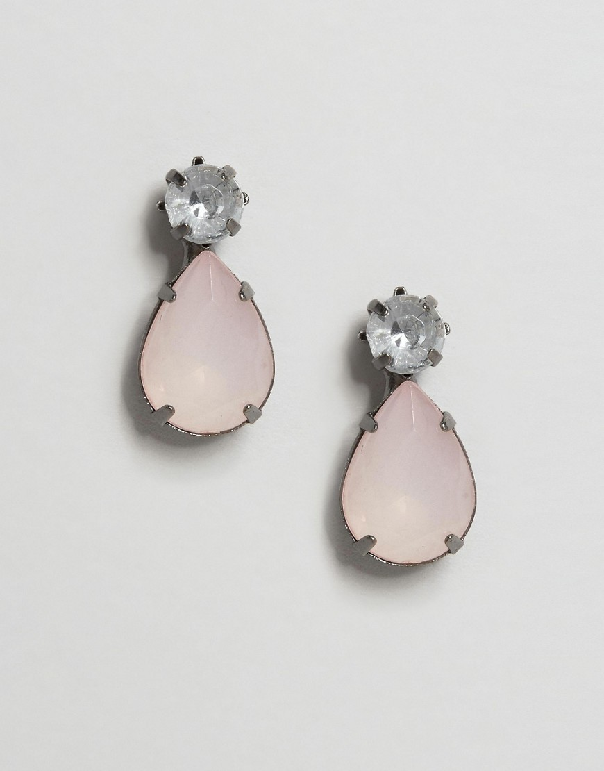 Drop Jewel Pear Stud Earrings Pink - predominant colour: blush; occasions: evening, occasion; style: drop; length: mid; size: standard; material: chain/metal; fastening: pierced; finish: plain; embellishment: jewels/stone; season: s/s 2016; wardrobe: event
