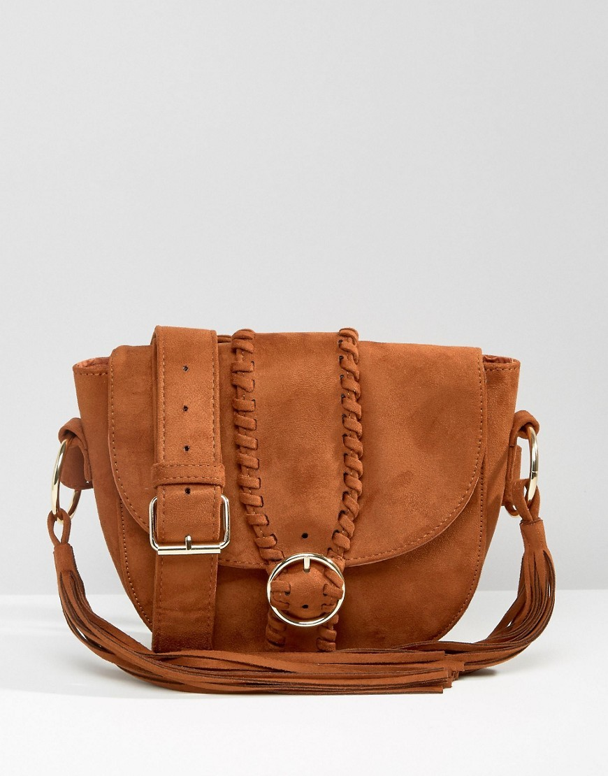 Plait Detail Festival Bag Tan - predominant colour: tan; occasions: casual; type of pattern: standard; style: saddle; length: across body/long; size: standard; material: faux leather; pattern: plain; finish: plain; season: s/s 2016; wardrobe: highlight