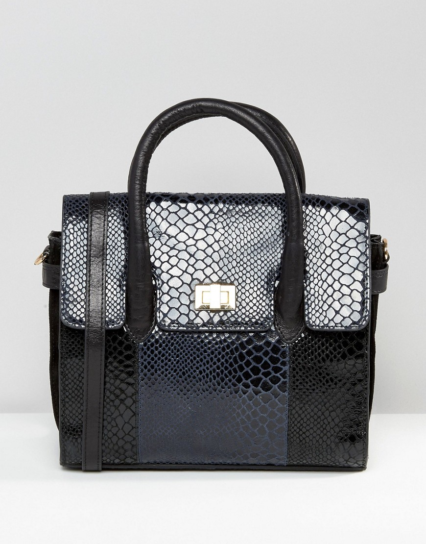 Mini Tote Bag With Optional Shoulder Strap In Multi Faux Snakeskin Navy Snake - predominant colour: navy; occasions: casual, creative work; type of pattern: heavy; style: tote; length: handle; size: standard; material: faux leather; pattern: animal print; finish: plain; season: s/s 2016; wardrobe: highlight