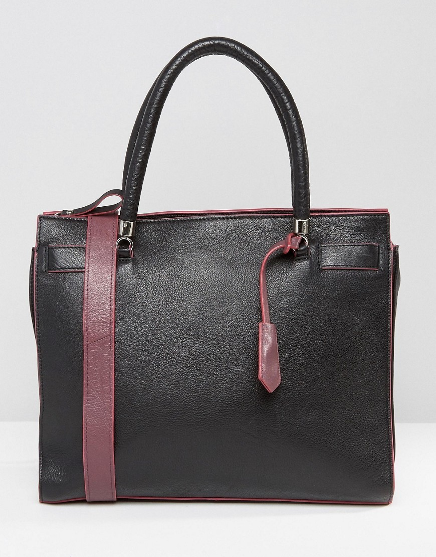 Tote Bag With Contrast Strap Bk1 Black - secondary colour: burgundy; predominant colour: black; occasions: casual, creative work; type of pattern: standard; style: tote; length: handle; size: standard; material: faux leather; pattern: plain; finish: plain; season: s/s 2016; wardrobe: investment