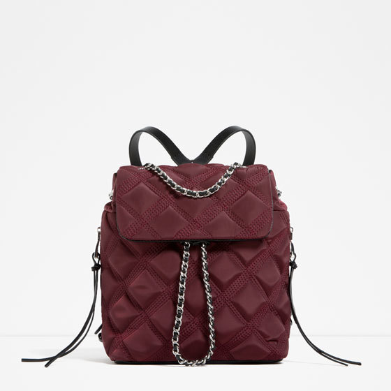 Quilted Chain Backpack - predominant colour: burgundy; type of pattern: light; style: rucksack; length: rucksack; size: standard; material: fabric; pattern: plain; finish: plain; occasions: creative work; season: s/s 2016