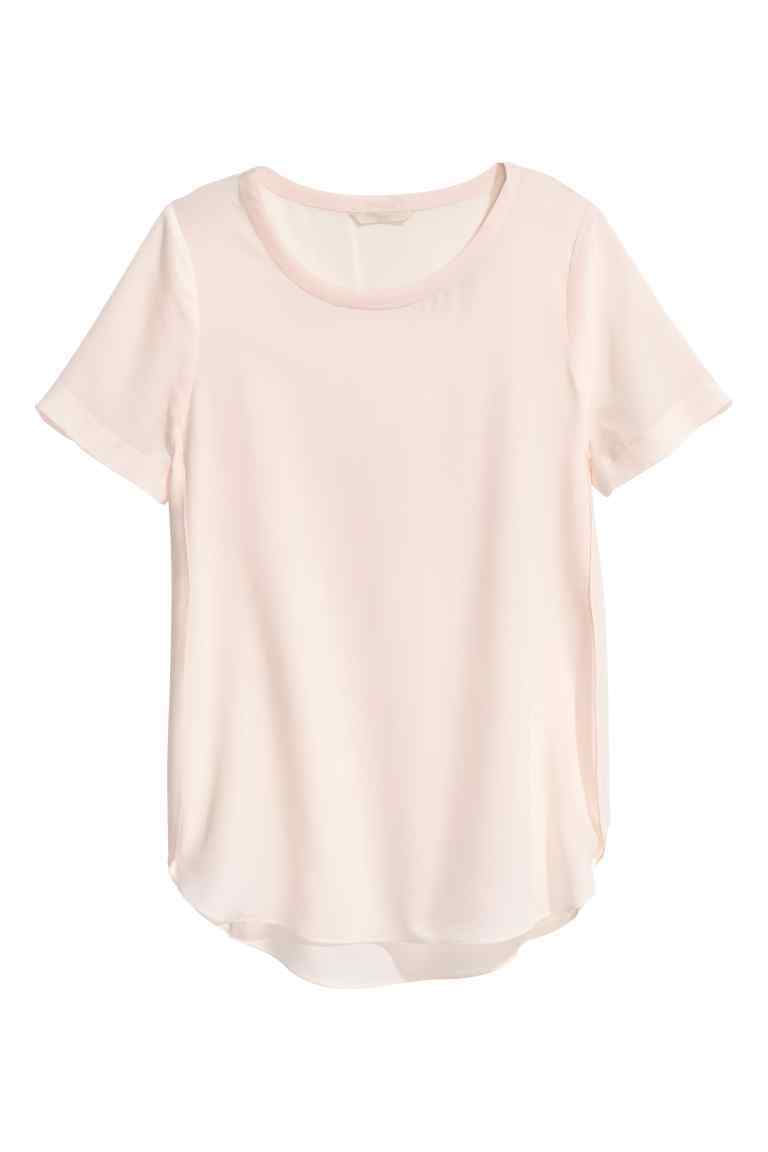 Silk Blouse - pattern: plain; style: blouse; predominant colour: blush; occasions: casual; length: standard; fibres: silk - 100%; fit: body skimming; neckline: crew; sleeve length: short sleeve; sleeve style: standard; texture group: silky - light; pattern type: fabric; season: s/s 2016; wardrobe: basic