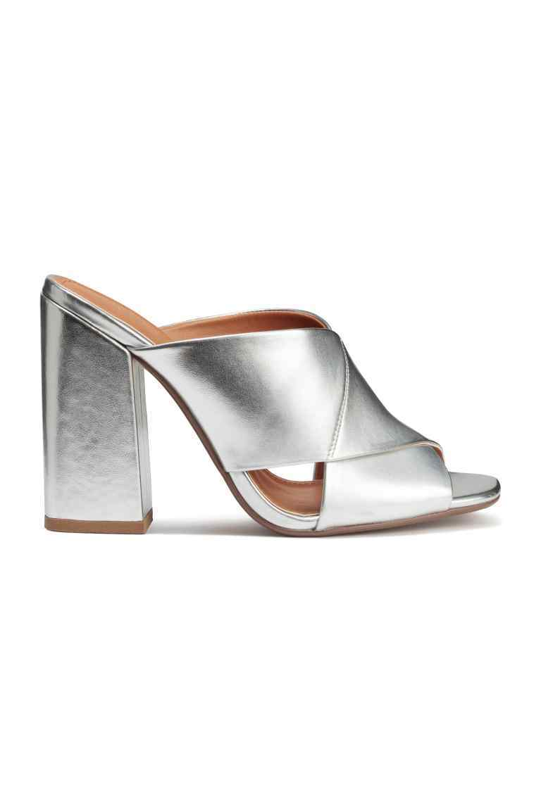 Mules - predominant colour: silver; occasions: evening; material: faux leather; heel height: high; heel: block; toe: open toe/peeptoe; style: mules; finish: patent; pattern: plain; season: s/s 2016; wardrobe: event