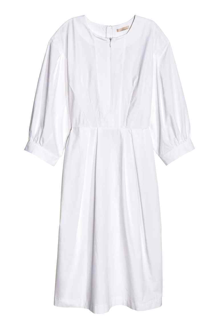 Dress With Balloon Sleeves - style: smock; fit: loose; pattern: plain; predominant colour: white; length: just above the knee; fibres: cotton - 100%; neckline: crew; sleeve length: half sleeve; sleeve style: standard; texture group: cotton feel fabrics; pattern type: fabric; occasions: creative work; season: s/s 2016