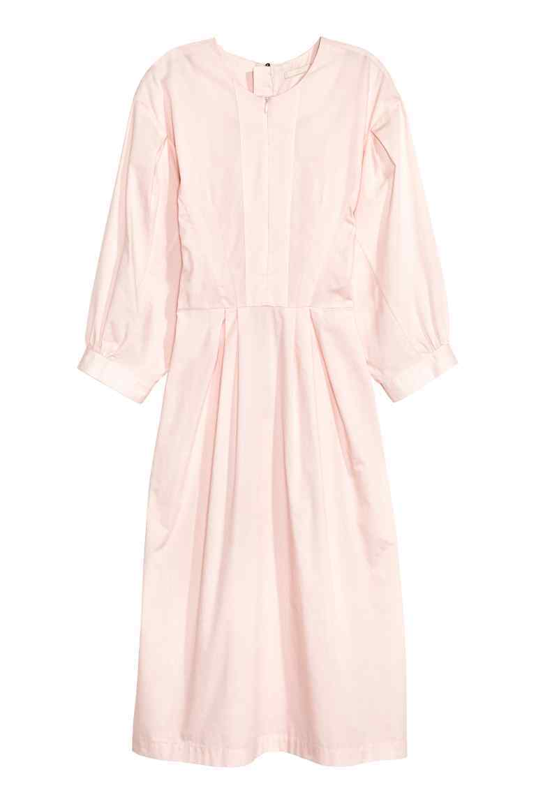 Dress With Balloon Sleeves - style: shift; pattern: plain; sleeve style: balloon; predominant colour: blush; occasions: casual; length: on the knee; fit: body skimming; fibres: cotton - 100%; neckline: crew; sleeve length: 3/4 length; pattern type: fabric; texture group: other - light to midweight; season: s/s 2016; wardrobe: basic