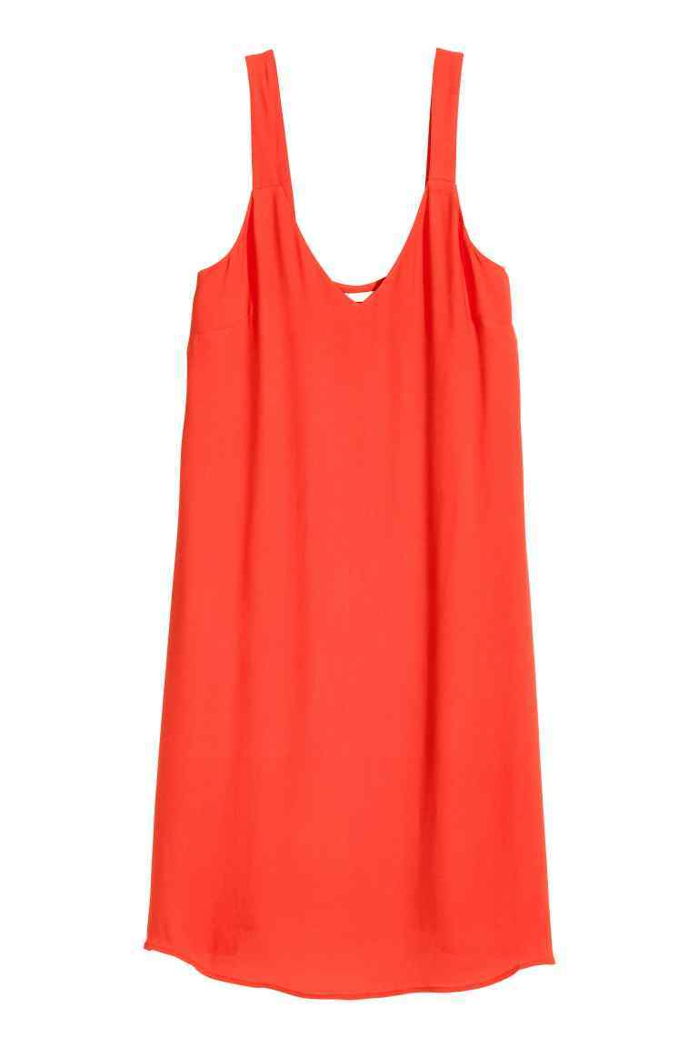 V Neck Dress - neckline: low v-neck; pattern: plain; sleeve style: sleeveless; predominant colour: bright orange; occasions: evening; length: on the knee; fit: body skimming; style: slip dress; fibres: viscose/rayon - 100%; sleeve length: sleeveless; pattern type: fabric; texture group: other - light to midweight; season: s/s 2016