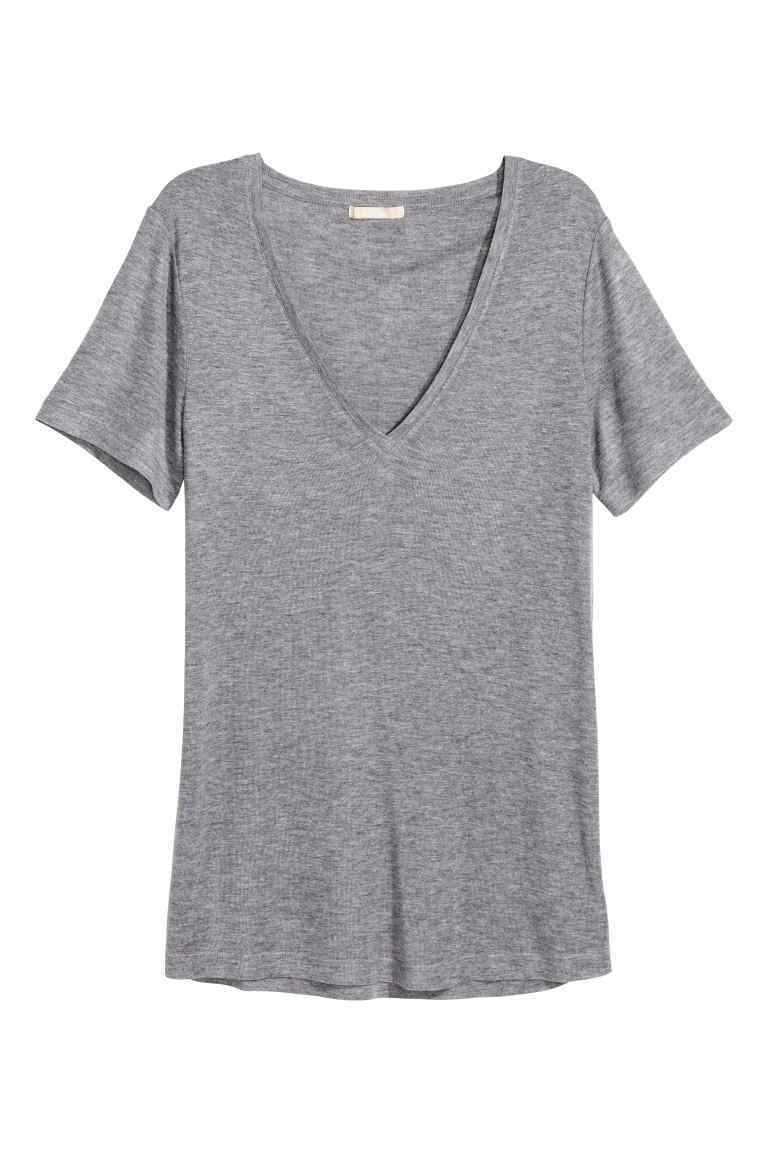 Top In A Silk Blend - neckline: v-neck; pattern: plain; style: t-shirt; predominant colour: mid grey; occasions: casual; length: standard; fibres: silk - mix; fit: body skimming; sleeve length: short sleeve; sleeve style: standard; pattern type: fabric; texture group: jersey - stretchy/drapey; season: s/s 2016; wardrobe: basic