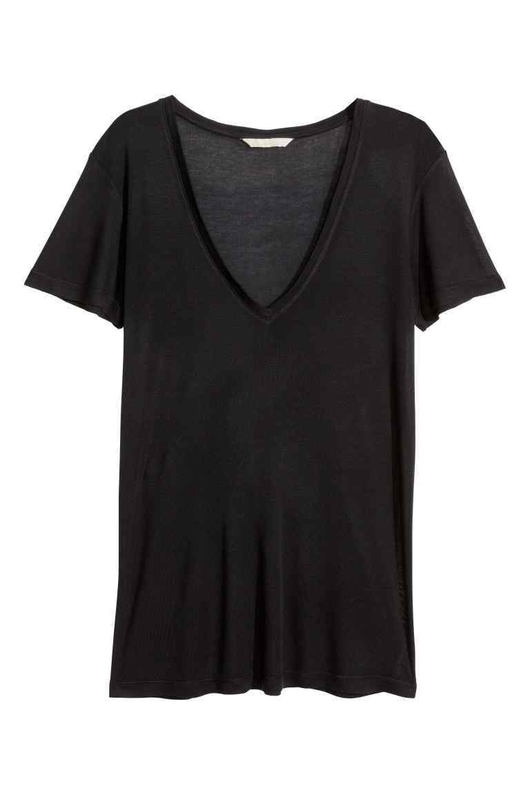 Top In A Silk Blend - neckline: v-neck; pattern: plain; style: t-shirt; predominant colour: black; occasions: casual; length: standard; fibres: silk - mix; fit: body skimming; sleeve length: short sleeve; sleeve style: standard; pattern type: fabric; texture group: jersey - stretchy/drapey; season: s/s 2016; wardrobe: basic