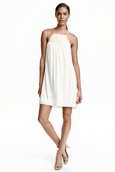 Tape Embroidered Dress - style: a-line; sleeve style: spaghetti straps; fit: loose; pattern: plain; predominant colour: ivory/cream; length: just above the knee; fibres: polyester/polyamide - 100%; occasions: occasion; sleeve length: sleeveless; neckline: medium square neck; pattern type: fabric; texture group: other - light to midweight; season: s/s 2016; wardrobe: event