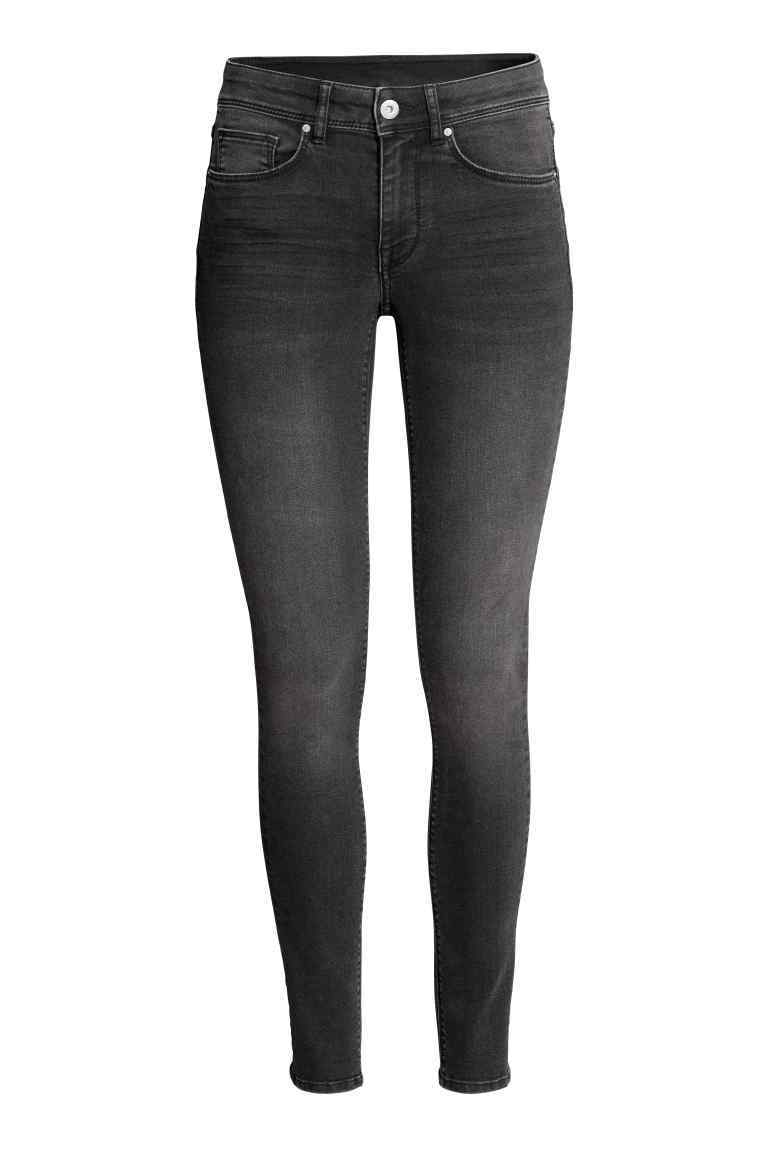 Super Skinny Regular Jeans - style: skinny leg; length: standard; pattern: plain; pocket detail: traditional 5 pocket; waist: mid/regular rise; predominant colour: charcoal; occasions: casual; fibres: cotton - stretch; texture group: denim; pattern type: fabric; season: s/s 2016; wardrobe: highlight