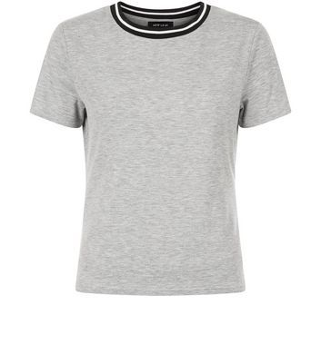 Grey Contrast Trim T Shirt - style: t-shirt; predominant colour: mid grey; occasions: casual; length: standard; fibres: cotton - stretch; fit: body skimming; neckline: crew; sleeve length: short sleeve; sleeve style: standard; texture group: jersey - clingy; pattern type: fabric; pattern size: light/subtle; pattern: marl; season: s/s 2016; wardrobe: basic