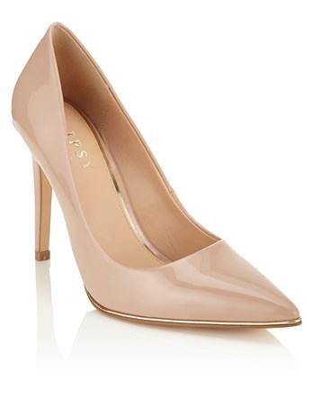 Pointed Courts - predominant colour: blush; occasions: evening; material: leather; heel height: high; heel: stiletto; toe: pointed toe; style: courts; finish: patent; pattern: plain; season: s/s 2016