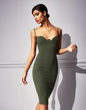 Mesh Panel Strappy Midi Dress - sleeve style: spaghetti straps; fit: tight; pattern: plain; style: bodycon; neckline: sweetheart; predominant colour: dark green; occasions: evening; length: on the knee; fibres: cotton - stretch; sleeve length: sleeveless; texture group: jersey - clingy; pattern type: fabric; season: s/s 2016; wardrobe: event