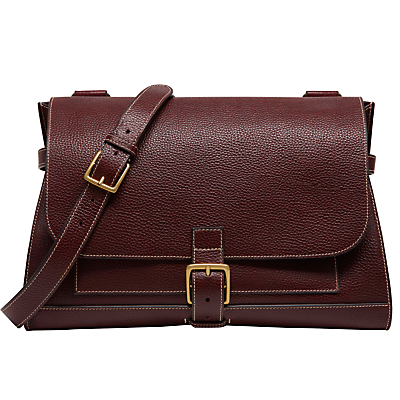 Small Buckle Leather Satchel - predominant colour: burgundy; occasions: casual, creative work; type of pattern: standard; style: satchel; length: across body/long; size: standard; material: leather; pattern: plain; finish: plain; season: s/s 2016; wardrobe: highlight