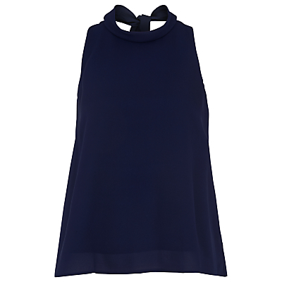 Florance Tie Neck Silk Blouse - neckline: round neck; pattern: plain; sleeve style: sleeveless; length: below the bottom; back detail: tie at back; style: blouse; predominant colour: navy; occasions: evening; fibres: silk - 100%; fit: loose; sleeve length: sleeveless; texture group: silky - light; pattern type: fabric; season: s/s 2016; wardrobe: event