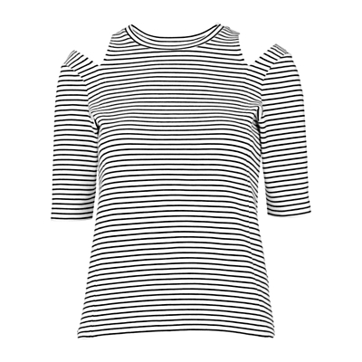 Split Shoulder Stripe Top, Black/White - pattern: horizontal stripes; predominant colour: white; secondary colour: black; occasions: casual; length: standard; style: top; fibres: viscose/rayon - stretch; fit: body skimming; neckline: crew; shoulder detail: cut out shoulder; sleeve length: half sleeve; sleeve style: standard; pattern type: fabric; texture group: jersey - stretchy/drapey; multicoloured: multicoloured; season: s/s 2016; wardrobe: highlight