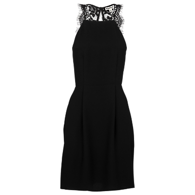 Portia Lace Back Dress - style: shift; length: mid thigh; fit: tailored/fitted; pattern: plain; sleeve style: sleeveless; predominant colour: black; occasions: evening, occasion; fibres: polyester/polyamide - 100%; neckline: crew; sleeve length: sleeveless; pattern type: fabric; texture group: other - light to midweight; embellishment: lace; season: s/s 2016; wardrobe: event