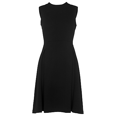 Romily High Neck Dress, Black - length: below the knee; pattern: plain; sleeve style: sleeveless; neckline: high neck; predominant colour: black; occasions: evening, occasion; fit: fitted at waist & bust; style: fit & flare; fibres: polyester/polyamide - mix; sleeve length: sleeveless; pattern type: fabric; texture group: other - light to midweight; season: s/s 2016; wardrobe: event