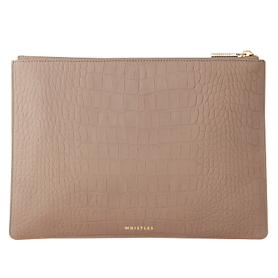 Matte Croc Leather Medium Clutch Bag, Grey - predominant colour: camel; occasions: evening, occasion; type of pattern: standard; style: clutch; length: hand carry; size: standard; material: leather; pattern: plain; finish: plain; season: s/s 2016