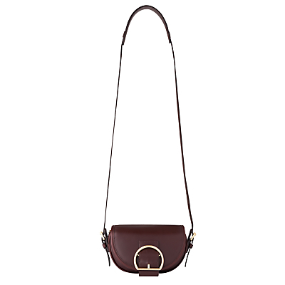 Bay Mini Buckle Satchel - predominant colour: aubergine; secondary colour: gold; occasions: casual, creative work; type of pattern: standard; style: satchel; length: across body/long; size: standard; material: leather; pattern: plain; finish: plain; embellishment: buckles; season: s/s 2016