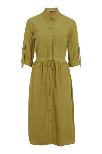 Utility Shirt Dress - style: shirt; length: below the knee; neckline: shirt collar/peter pan/zip with opening; fit: fitted at waist; pattern: plain; predominant colour: khaki; occasions: casual, creative work; fibres: viscose/rayon - 100%; sleeve length: 3/4 length; sleeve style: standard; pattern type: fabric; texture group: other - light to midweight; trends: chic girl, tomboy girl; season: s/s 2016; wardrobe: basic