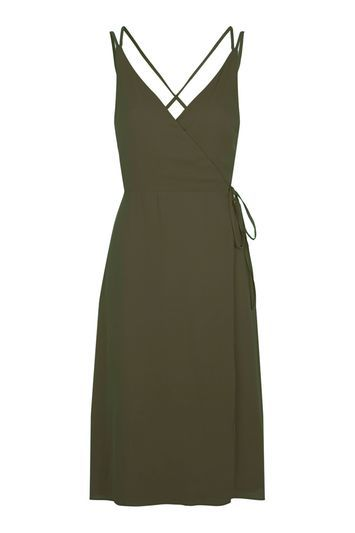 Wrap Slip Midi Dress - style: faux wrap/wrap; length: below the knee; neckline: low v-neck; pattern: plain; sleeve style: sleeveless; predominant colour: khaki; fit: body skimming; fibres: polyester/polyamide - 100%; back detail: crossover; sleeve length: sleeveless; pattern type: knitted - other; texture group: other - light to midweight; occasions: creative work; trends: chic girl; season: s/s 2016; wardrobe: investment