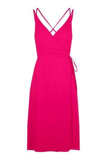 Wrap Slip Midi Dress - style: faux wrap/wrap; length: below the knee; neckline: low v-neck; pattern: plain; sleeve style: sleeveless; predominant colour: hot pink; occasions: casual; fit: body skimming; fibres: polyester/polyamide - 100%; back detail: crossover; sleeve length: sleeveless; pattern type: fabric; texture group: other - light to midweight; trends: glossy girl; season: s/s 2016; wardrobe: highlight