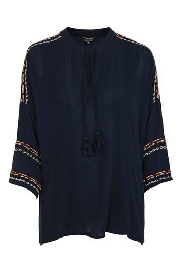 Long Sleeve Embroidered Tunic - pattern: plain; length: below the bottom; style: tunic; predominant colour: navy; occasions: casual; neckline: collarstand; fibres: viscose/rayon - 100%; fit: body skimming; sleeve length: 3/4 length; sleeve style: standard; pattern type: fabric; texture group: other - light to midweight; embellishment: embroidered; trends: fashion girl; season: s/s 2016