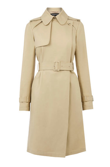 Clean Belted Trench Coat - pattern: plain; shoulder detail: obvious epaulette; style: trench coat; predominant colour: stone; occasions: casual, work, creative work; fit: tailored/fitted; fibres: polyester/polyamide - 100%; length: below the knee; collar: shirt collar/peter pan/zip with opening; waist detail: belted waist/tie at waist/drawstring; sleeve length: long sleeve; sleeve style: standard; texture group: technical outdoor fabrics; collar break: high; pattern type: fabric; season: s/s 2016; wardrobe: basic