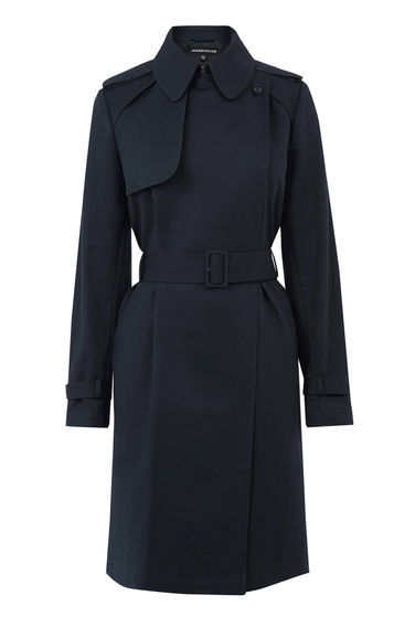 Clean Belted Trench Coat - pattern: plain; shoulder detail: obvious epaulette; style: trench coat; predominant colour: navy; occasions: casual, work, creative work; fit: tailored/fitted; fibres: polyester/polyamide - 100%; length: below the knee; collar: shirt collar/peter pan/zip with opening; waist detail: belted waist/tie at waist/drawstring; sleeve length: long sleeve; sleeve style: standard; texture group: technical outdoor fabrics; collar break: high; pattern type: fabric; season: s/s 2016