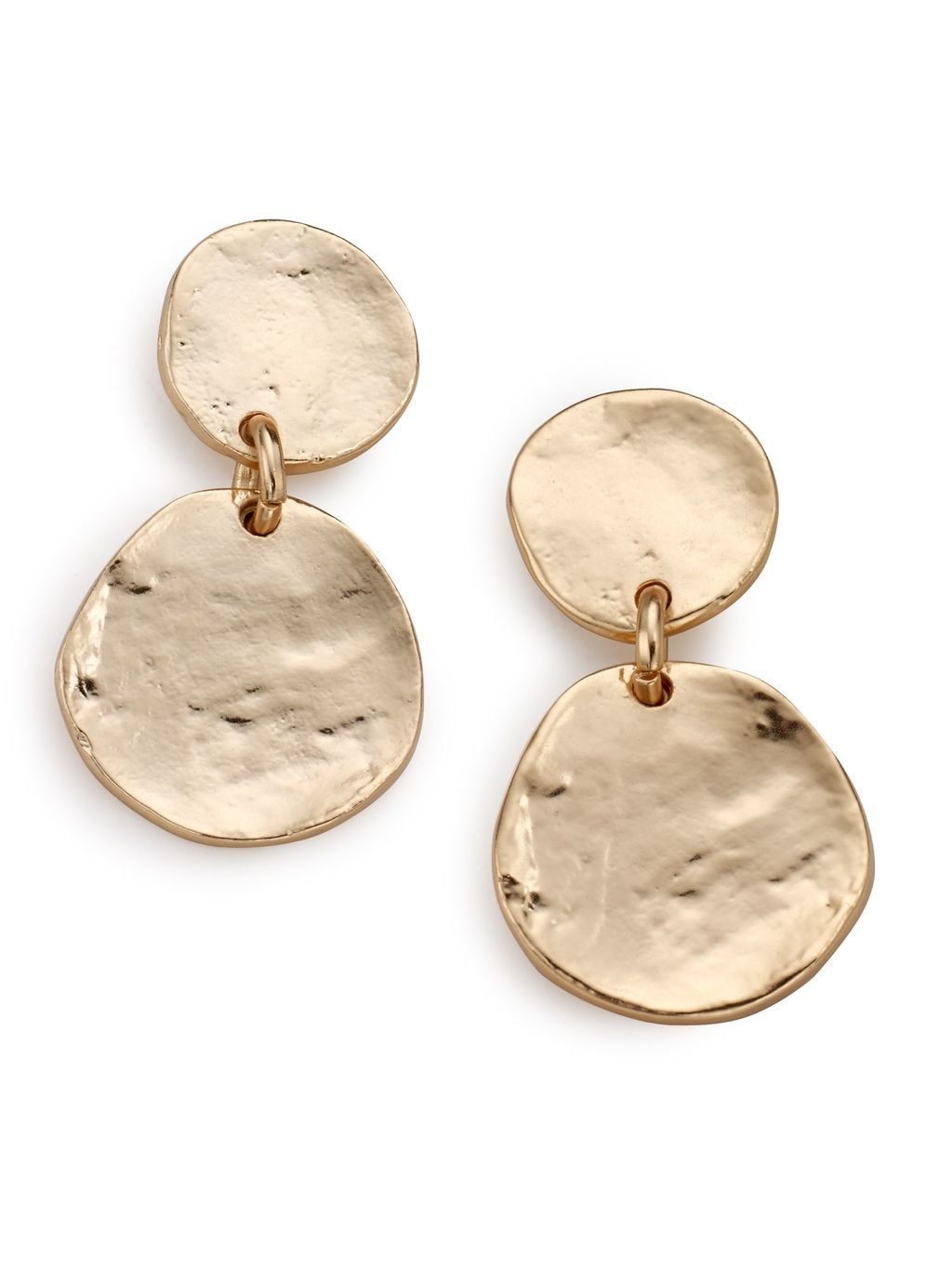Irregular Disc Earring, Gold - predominant colour: gold; occasions: casual, creative work; style: drop; length: mid; size: large/oversized; material: chain/metal; fastening: pierced; finish: metallic; season: s/s 2016; wardrobe: highlight