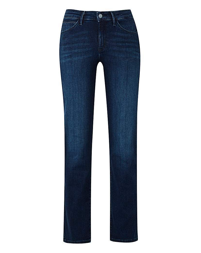 Sara Narrow Straight Jean L32 - style: straight leg; length: standard; pattern: plain; waist: high rise; pocket detail: traditional 5 pocket; predominant colour: navy; occasions: casual; fibres: cotton - 100%; jeans detail: whiskering, dark wash; texture group: denim; pattern type: fabric; season: s/s 2016; wardrobe: basic