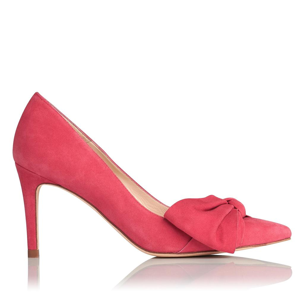 Caitlyn Cherry Suede Courts Pink Cherry - predominant colour: pink; occasions: evening; material: suede; heel height: high; heel: stiletto; toe: pointed toe; style: courts; finish: plain; pattern: plain; embellishment: bow; season: s/s 2016