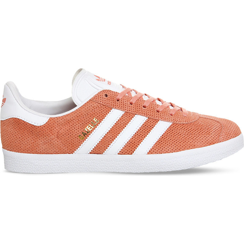 Gazelle Suede Trainers, Women's, Sun Glow White - secondary colour: white; predominant colour: terracotta; occasions: casual, creative work; material: suede; heel height: flat; toe: round toe; style: trainers; finish: plain; pattern: colourblock; season: s/s 2016; wardrobe: highlight