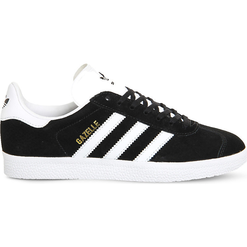 Gazelle Suede Trainers - secondary colour: white; predominant colour: black; occasions: casual, creative work; material: suede; heel height: flat; toe: round toe; style: trainers; finish: plain; pattern: colourblock; season: s/s 2016; wardrobe: highlight