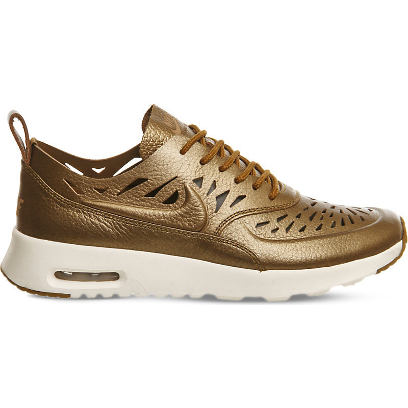 Air Max Thea Cutout Metallic Leather Trainers, Women's, Metallic Golden Tan - secondary colour: ivory/cream; predominant colour: gold; occasions: casual; material: leather; heel height: flat; toe: round toe; style: trainers; finish: metallic; pattern: plain; season: s/s 2016; wardrobe: basic