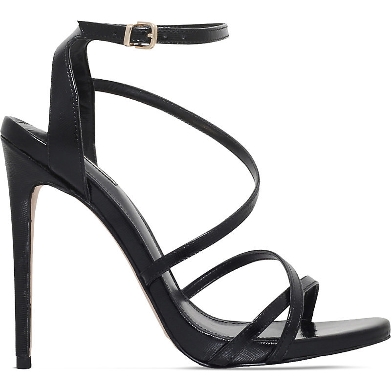 Georgia Strappy Leather Sandals, Women's, Eur 41 / 8 Uk Women, Black - predominant colour: black; occasions: evening, occasion; material: leather; ankle detail: ankle strap; heel: stiletto; toe: open toe/peeptoe; style: strappy; finish: plain; pattern: plain; heel height: very high; season: s/s 2016; wardrobe: event