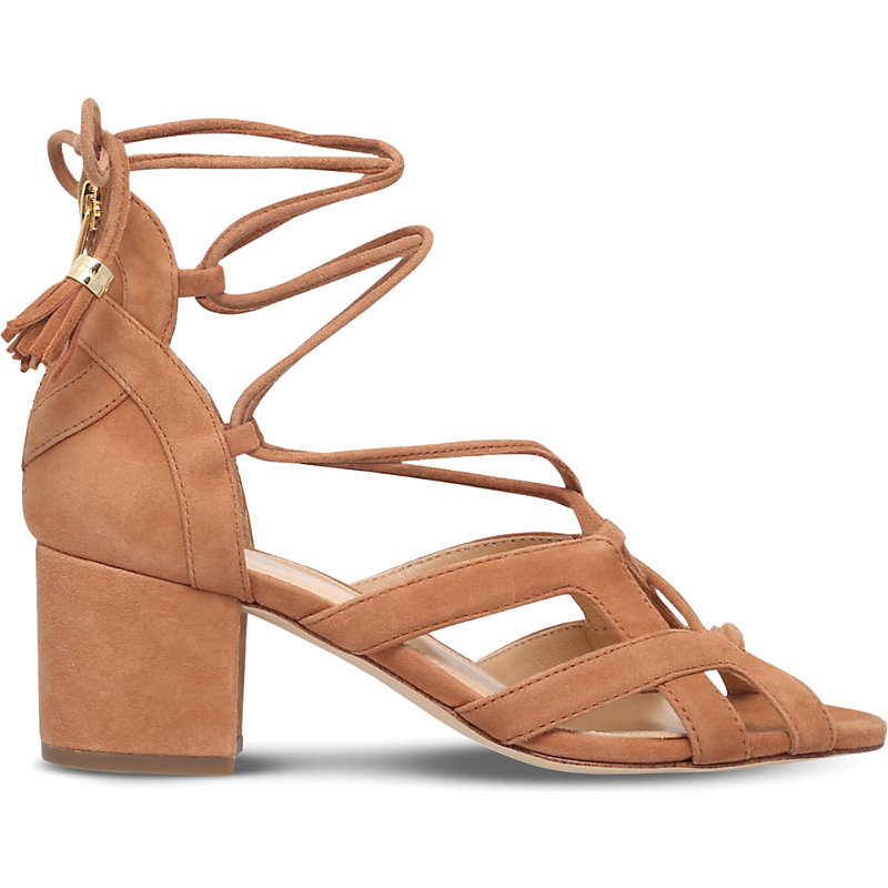 Mirabel Suede Heeled Sandals, Women's, Eur 37 / 4 Uk Women, Grey - predominant colour: camel; occasions: casual, evening, creative work; material: suede; heel height: mid; ankle detail: ankle tie; heel: block; toe: open toe/peeptoe; style: strappy; finish: plain; pattern: plain; season: s/s 2016; wardrobe: investment