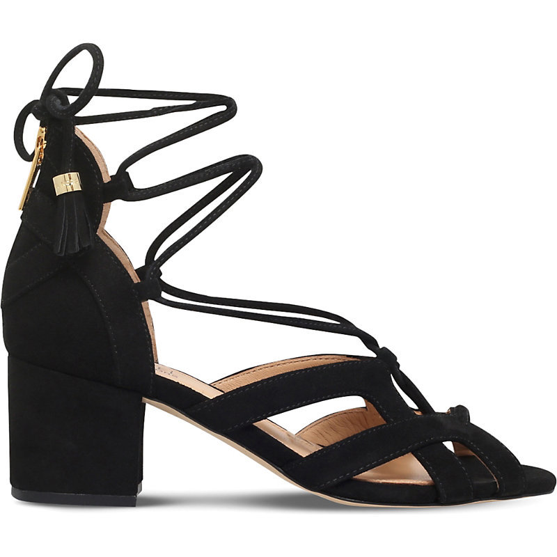 Mirabel Suede Heeled Sandals, Women's, Eur 37 / 4 Uk Women, Black - predominant colour: black; occasions: casual, evening, holiday; material: suede; heel height: mid; ankle detail: ankle tie; heel: block; toe: open toe/peeptoe; style: strappy; finish: plain; pattern: plain; season: s/s 2016; wardrobe: investment